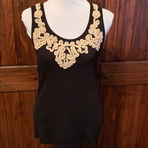 Style&co. Black tank with piping around collar,
